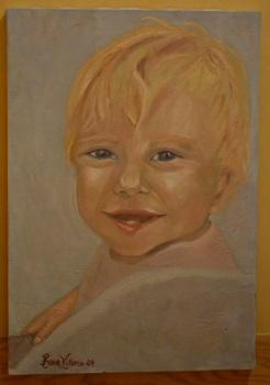 Barnet, Oljemålning- att fånga ett barns livlighet i bild och här i en målning, att bara fånga känslan, var viktigt här.
