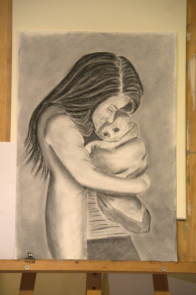 Natalie med barn