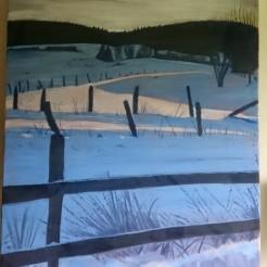 Vinter Vy, Oljemålning, En utsikt från ladugårdsplanen vid mina föräldrars Gård, en vintrig dag! Såld 7000:-