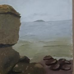 Vy från Öland, Oljemålning målad på Öland. Såld!
