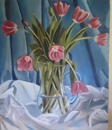 Tulpaner i vas. Oljemålning målad i min Ateljé, jag köpte den första buketten tulpaner på våren och förevigade dem i en tavla.