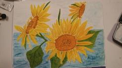 Solrosor i Havet 30X40 cm Akvarell 1500:-