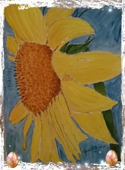 Solros 30X40 cm Akvarell-guasché-här fångas jag av den underbara soliga färgen i en blomma