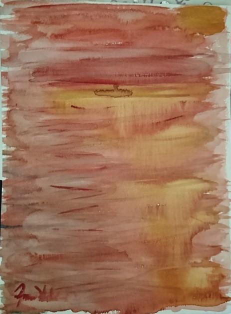 Solnedgång/sunset Akvarell