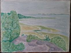 Varberg 30X40 cm Akvarell, Var en sommar på besök hos en vän i Varberg så en morgon ställde jag mig bara och målade, 4000:-